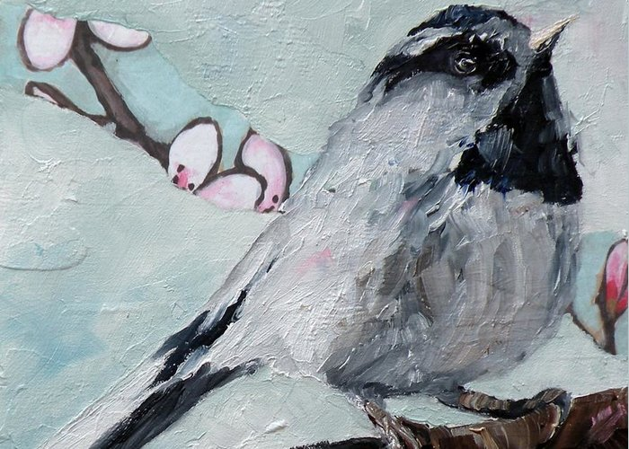 Chickadee Greeting Card featuring the painting Chickadee by Saundra Lane Galloway