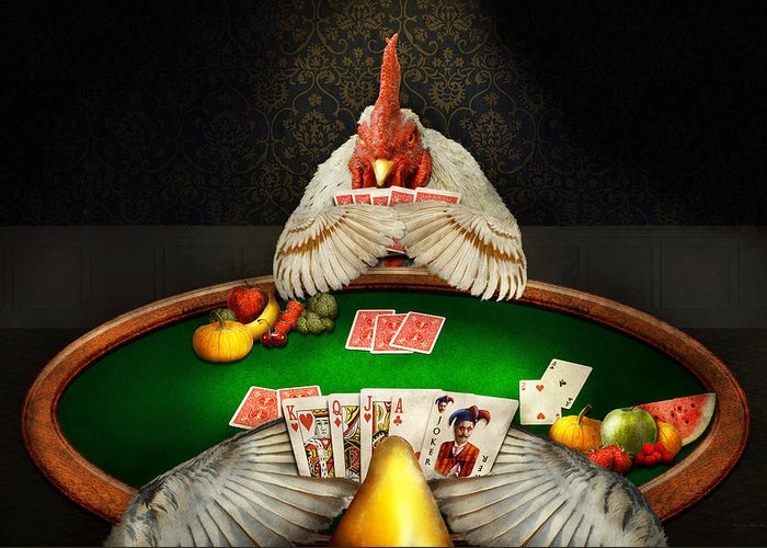 Self Greeting Card featuring the photograph Chicken - Playing Chicken by Mike Savad