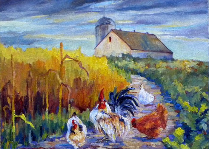 Chickens Greeting Card featuring the painting Chickens In The Cornfield by Peggy Wilson