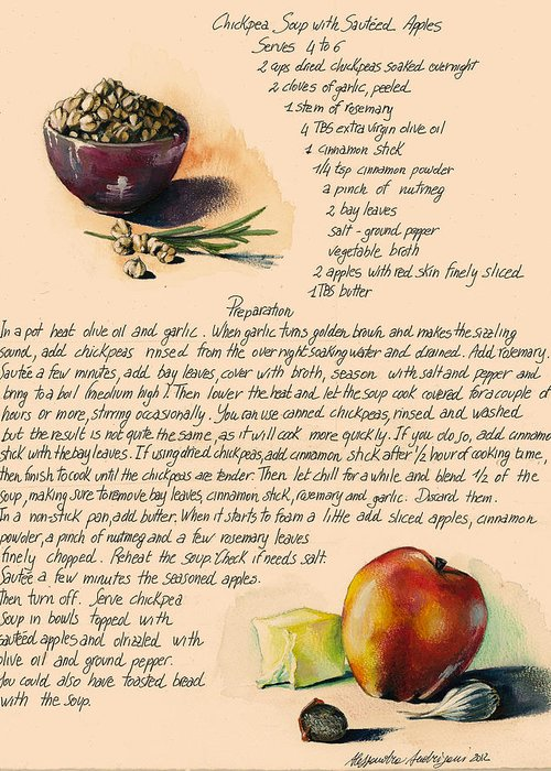 Soup Greeting Card featuring the painting Chickpeas Soup With Apples by Alessandra Andrisani