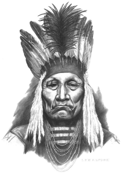 Blackfoot Chief Curly Bear Greeting Card featuring the drawing Chief Curly Bear by Lee Updike