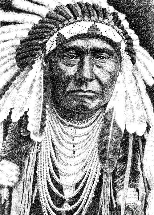 Jim Bridger Greeting Card featuring the drawing Chief-joseph by Gordon Punt