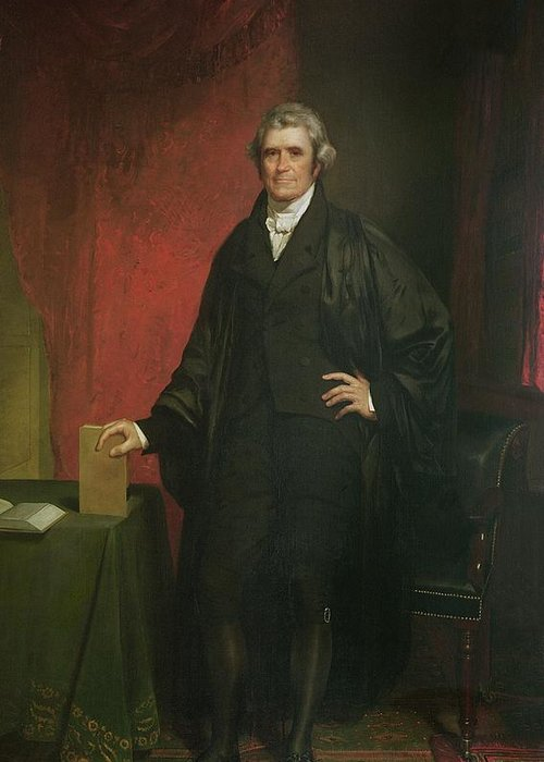 Portrait Greeting Card featuring the painting Chief Justice Marshall by Chester Harding