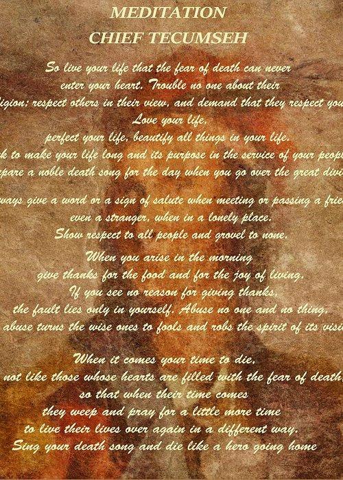 Chief Tecumseh Poem Greeting Card featuring the digital art Chief Tecumseh Poem by Dan Sproul