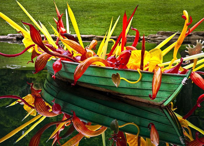Cheekwood Greeting Card featuring the photograph Chihuly Boat by Diana Powell