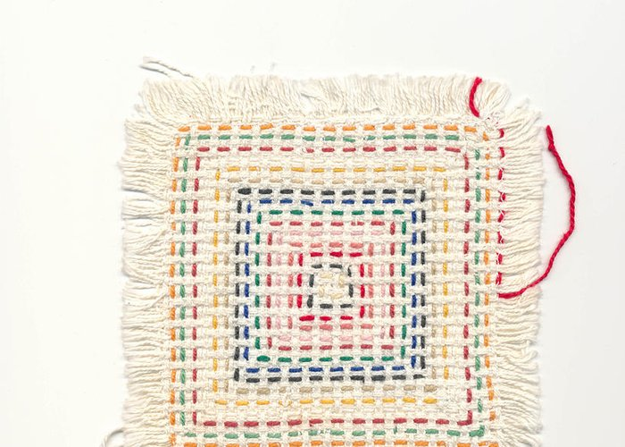 Child Greeting Card featuring the tapestry - textile Child Embroidery by Kerstin Ivarsson