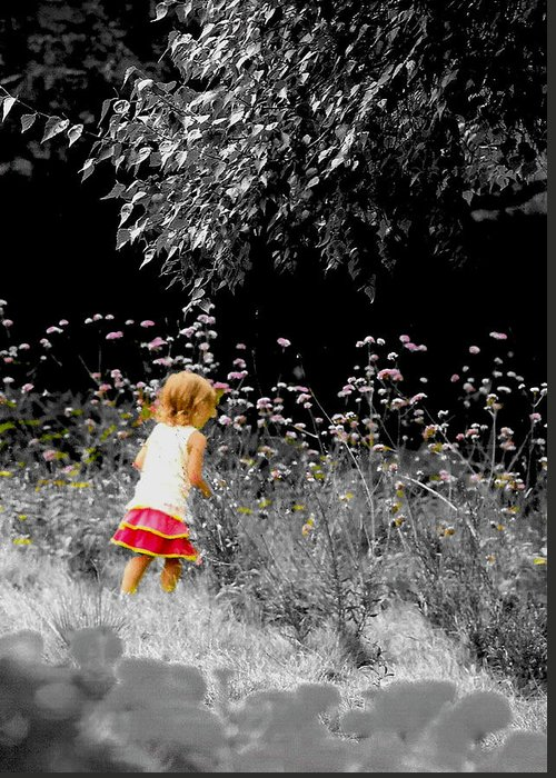 Child In Meadow Greeting Card featuring the photograph Inquisitive Child by Joanne Rungaitis
