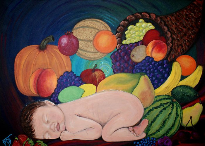 Baby Greeting Card featuring the painting Child Of Plenty by Pamorama Jones
