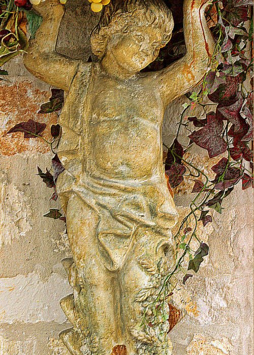 Warm Tones Greeting Card featuring the photograph Child Sculpture With Garpes by Linda Phelps