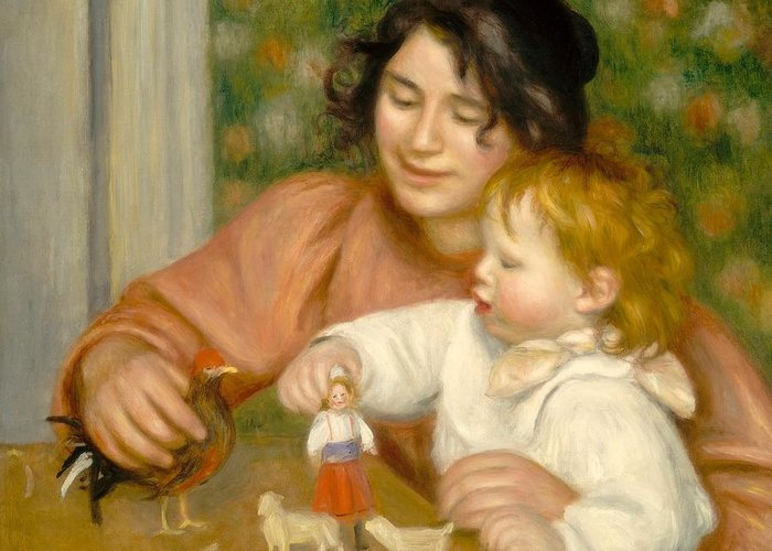 Impressionist; Boy; Mother; Son; Playing; Waist Up; Seated; Baby; Toddler Greeting Card featuring the painting Child With Toys Gabrielle And The Artist S Son Jean by Pierre Auguste Renoir