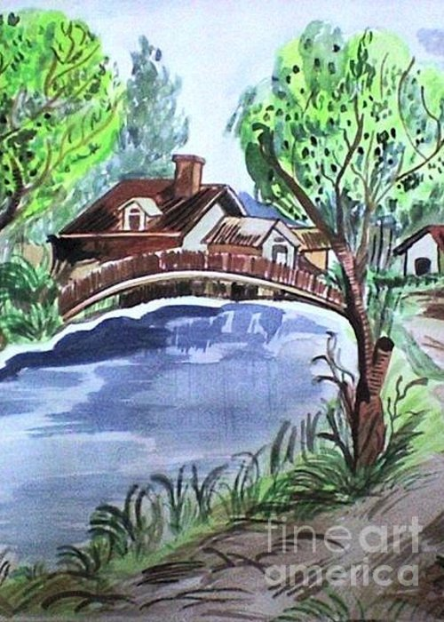Scenery Greeting Card featuring the painting Childhood Dream by Jyoti Vats