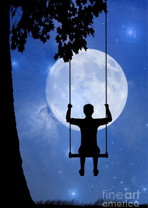 Childhood Dreams Greeting Card featuring the drawing Childhood Dreams 2 The Swing by John Edwards