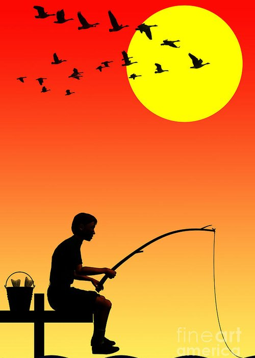 Childhood Dreams Greeting Card featuring the digital art Childhood Dreams 3 Fishing by John Edwards