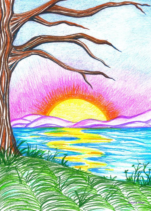 Landscape Greeting Card featuring the drawing Childlike Wonder by Shawna Rowe