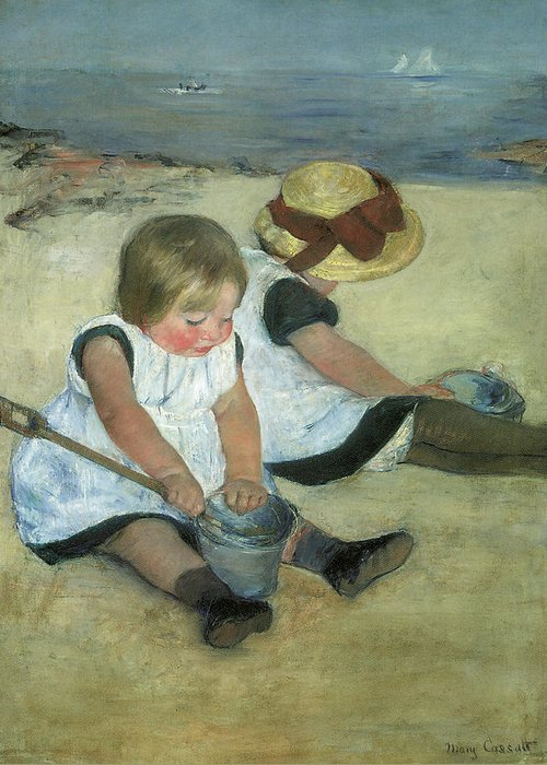Mary Cassatt Greeting Card featuring the painting Children At The Seashore by Mary Cassatt