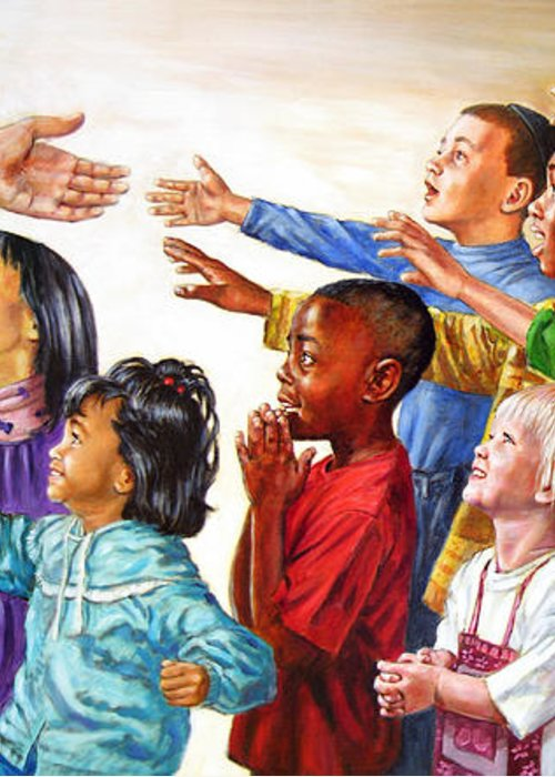 Jesus Greeting Card featuring the painting Children Coming To Jesus by John Lautermilch