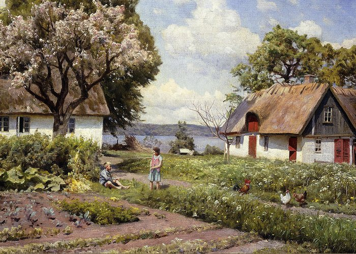 1930s Greeting Card featuring the painting Children In A Farmyard by Peder Monsted
