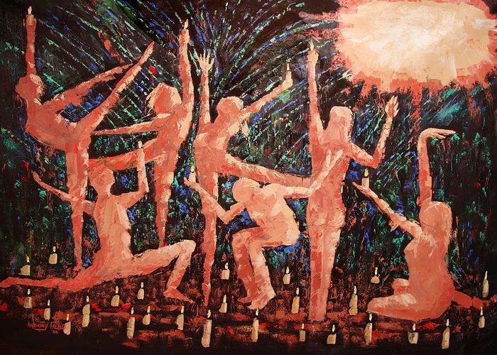 Children Of The Light Framed Prints Greeting Card featuring the painting Children Of The Light by Anthony Falbo