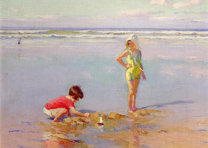 Playing Greeting Card featuring the painting Children On The Beach by Charles-Garabed Atamian