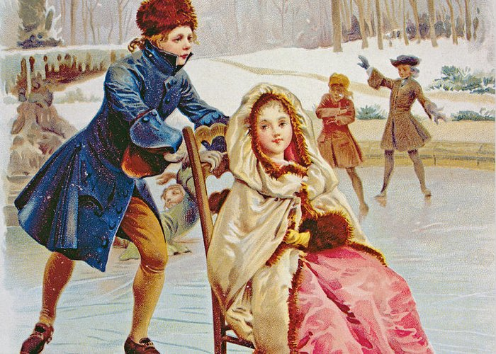 Skates Greeting Card featuring the painting Children Skating by Maurice Leloir