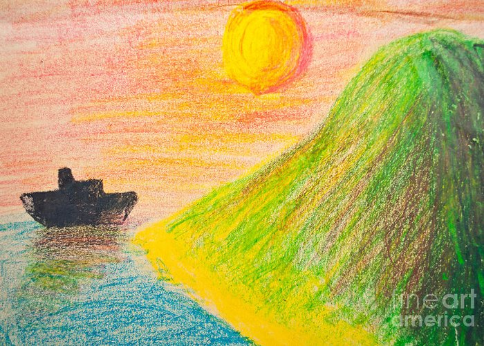 Art Greeting Card featuring the photograph Child's Hand Drawing Of Sea And Mountain Landscape With Crayons by Aleksandar Mijatovic