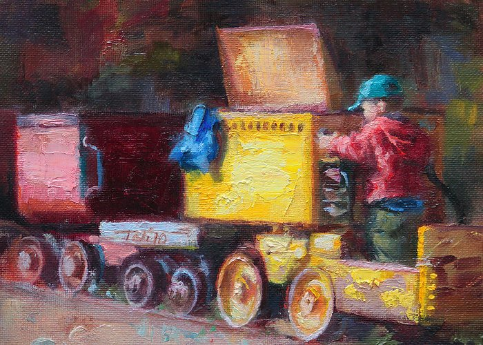 Impressionist Greeting Card featuring the painting Child's Play - Gold Mine Train by Talya Johnson