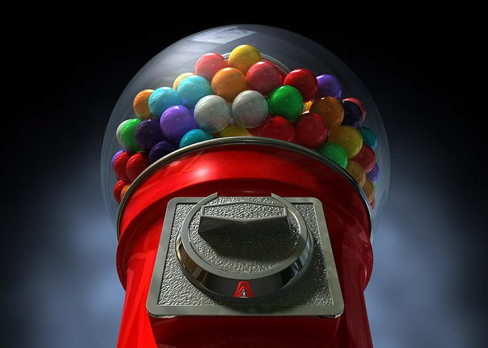 Machine Greeting Card featuring the digital art Childs View Of The Gumball Machine by Allan Swart