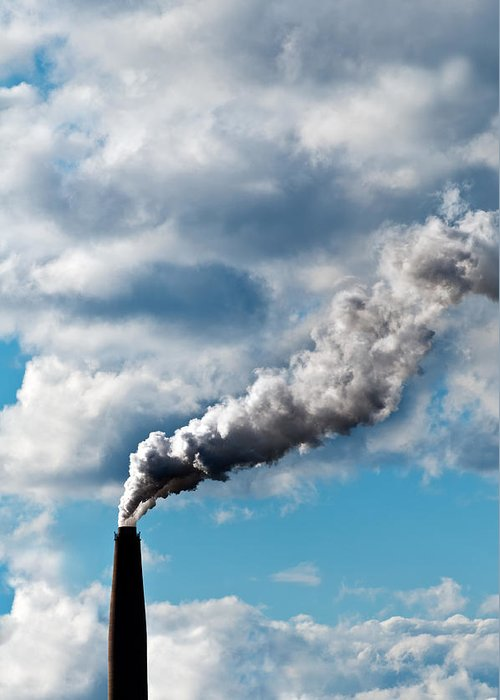 Air Greeting Card featuring the photograph Chimney Exhaust Waste Amount Of Co2 Into The Atmosphere by Ulrich Schade