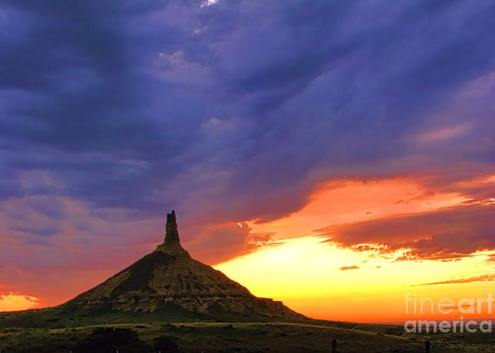 Chimney Rock Greeting Card featuring the photograph Chimney Rock Nebraska by Olivier Le Queinec
