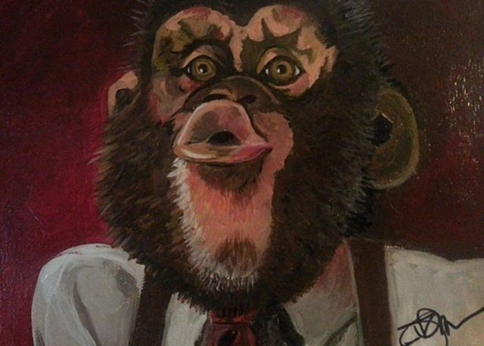 Greeting Card featuring the painting Chimp by Rebekah Murphy
