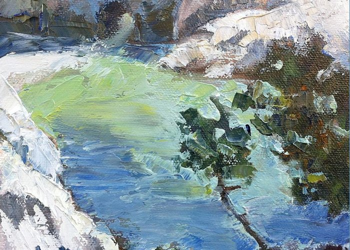 Landscape Greeting Card featuring the painting China Cove by Lori Quarton