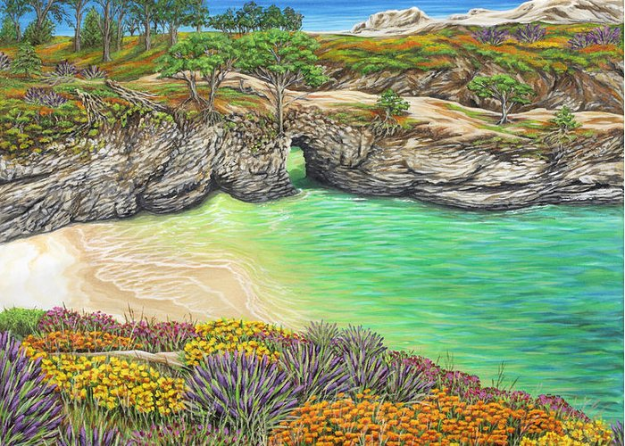 Ocean Greeting Card featuring the painting China Cove Paradise by Jane Girardot