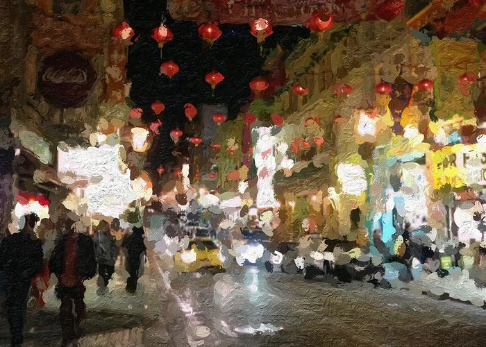 san Francisco Greeting Card featuring the painting China Town At Night by Linda Woods