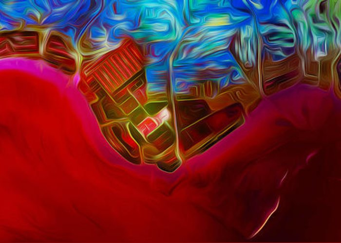 China Greeting Card featuring the digital art China Urbanization by Phill Petrovic