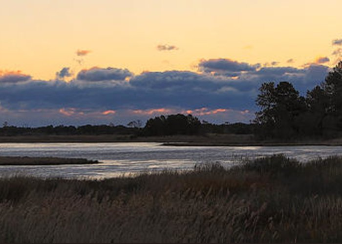 Red Greeting Card featuring the photograph Chincoteague Island Sunrise by Jack Nevitt