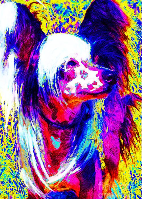 Animal Greeting Card featuring the photograph Chinese Crested Dog 20130125v1 by Wingsdomain Art and Photography