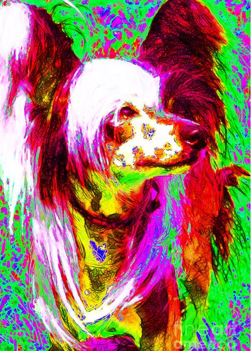 Animal Greeting Card featuring the photograph Chinese Crested Dog 20130125v2 by Wingsdomain Art and Photography