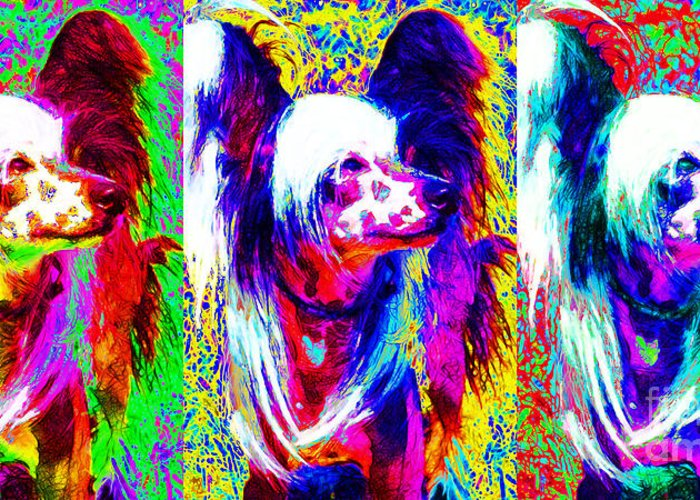 Animal Greeting Card featuring the photograph Chinese Crested Dog Three 20130125 by Wingsdomain Art and Photography