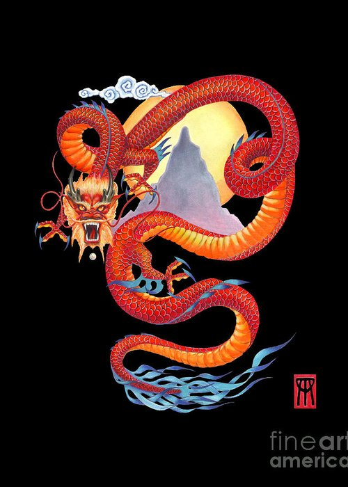 Dragon Greeting Card featuring the painting Chinese Dragon on Black by Melissa A Benson