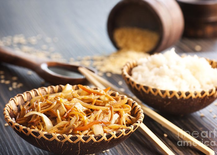 Appetizer Greeting Card featuring the photograph Chinese Food by Mythja Photography