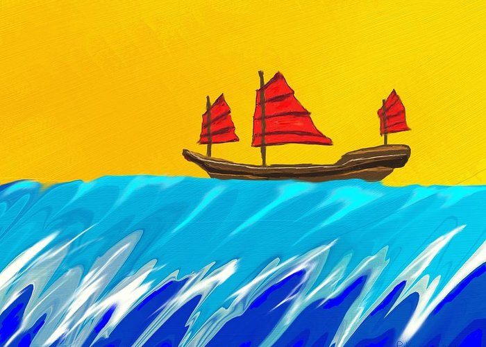 Junk Greeting Card featuring the painting Chinese Junk And Wave by Raka Cheops