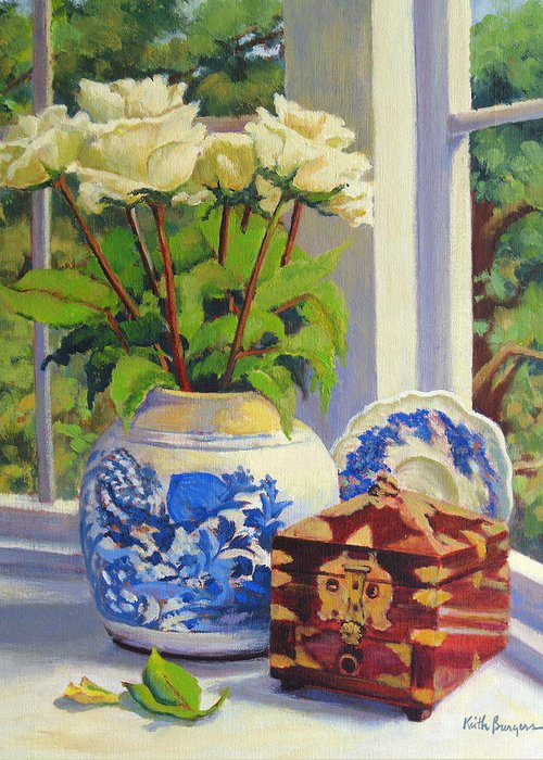 Impressionism Greeting Card featuring the painting Chinese Melon Jar by Keith Burgess
