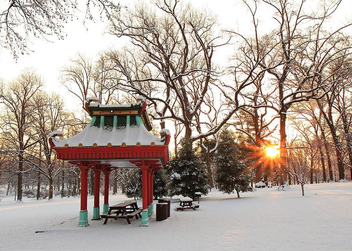 Tower Grove Greeting Card featuring the photograph Chinese Pavilion Winter Sunrise by Scott Rackers