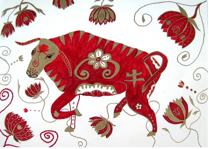 Ox Greeting Card featuring the drawing Chinese Year Of The Ox by Barbara Giordano
