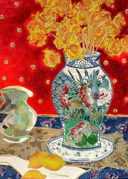 Flowers In A Vase Greeting Card featuring the mixed media Chinoiserie by Diane Fine