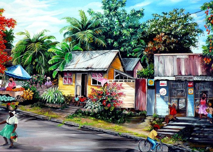 Landscape Painting Caribbean Painting Shop Trinidad Tobago Poinciana Painting Market Caribbean Market Painting Tropical Painting Greeting Card featuring the painting Chins Parlour   by Karin Dawn Kelshall- Best
