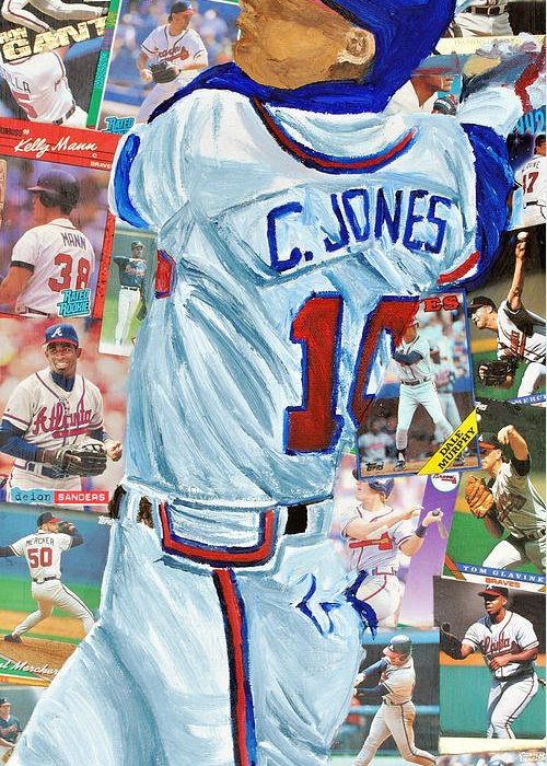 Atlanta Braves Greeting Card featuring the painting Chipper Jones 14 by Michael Lee