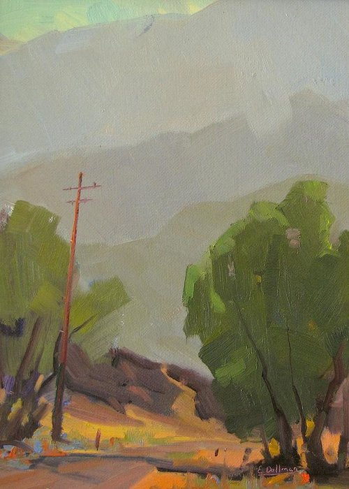 Greeting Card featuring the painting Chiquito Canyon In The Morning by Ernie Dollman