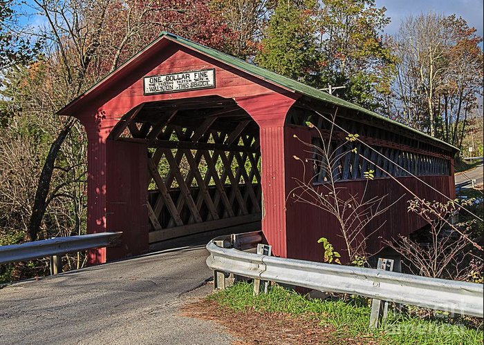 Vermont Greeting Card featuring the photograph Chiselville Covered Bridge by Edward Fielding