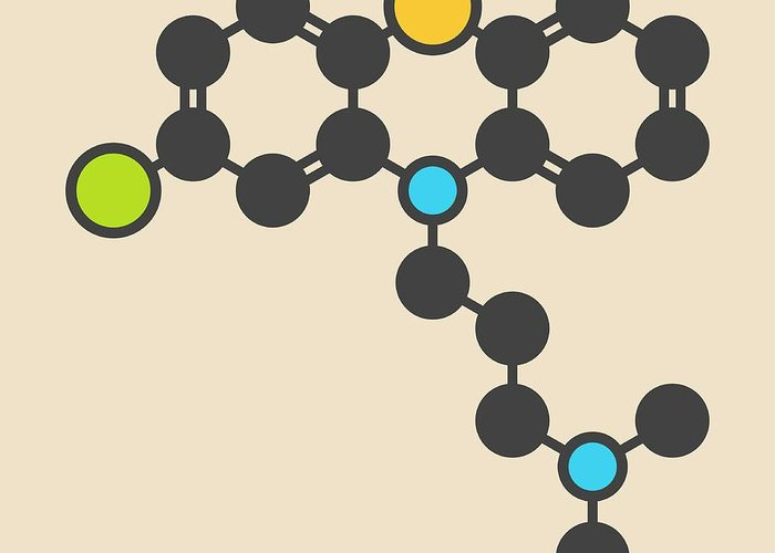 Chlorpromazin Greeting Card featuring the photograph Chlorpromazine Antipsychotic Molecule by Molekuul